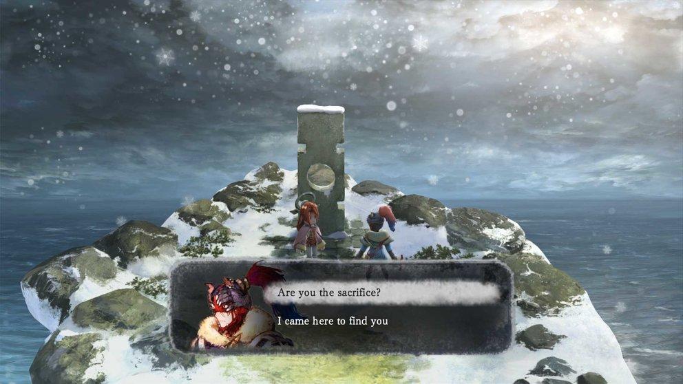 I am Setsuna: Söldner Endir wird mit der Aufgabe betraut, Setsuna zur Opferzeremonie zu bringen.