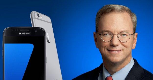 Alphabet-Vorsitzender Eric Schmidt benutzt ein iPhone - findet Galaxy S7 besser