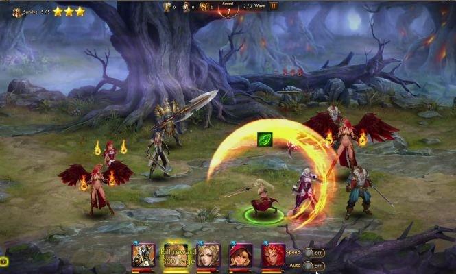 League of Angels 2: im rundenbasierten Kampfsystem wählt ihr eure Fähigkeiten aus, die dann automatisch ausgeführt werden.