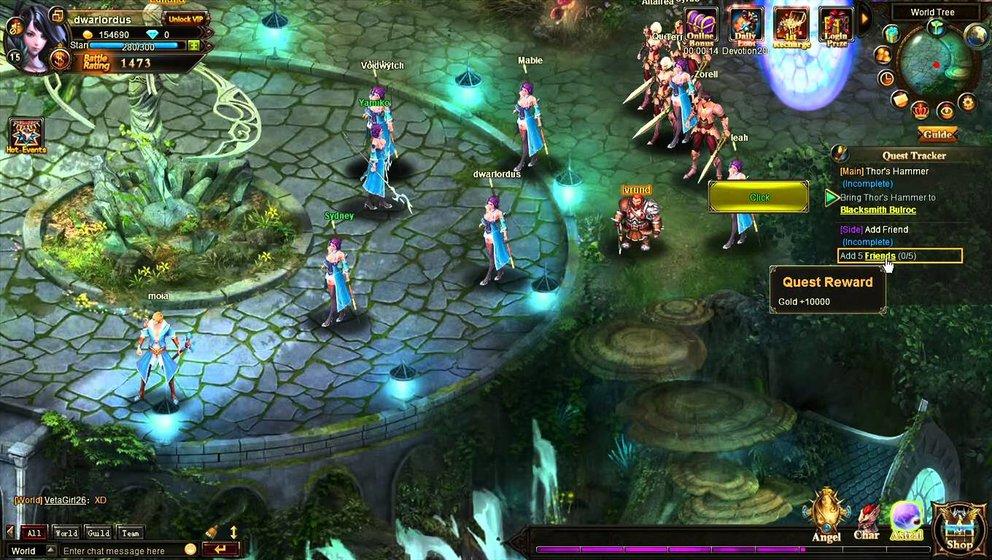 League of Angels 2: Im Weltenbaum besorgt ihr euch neue Quests und trefft euch mit anderen Spielern.