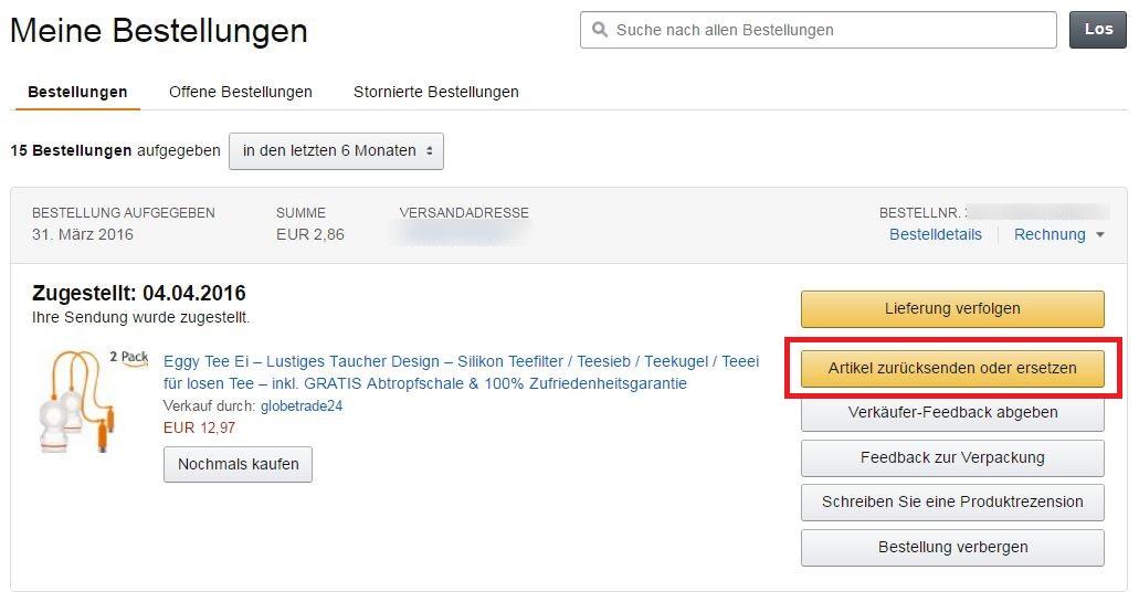 Amazon bestellung ersetzen
