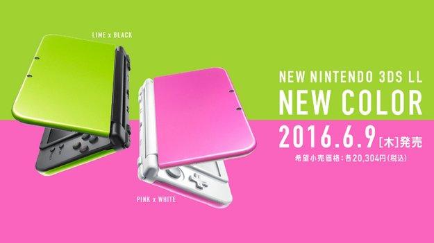 New Nintendo 3DS XL: Neue Farben Lime und Pink erscheinen in Japan
