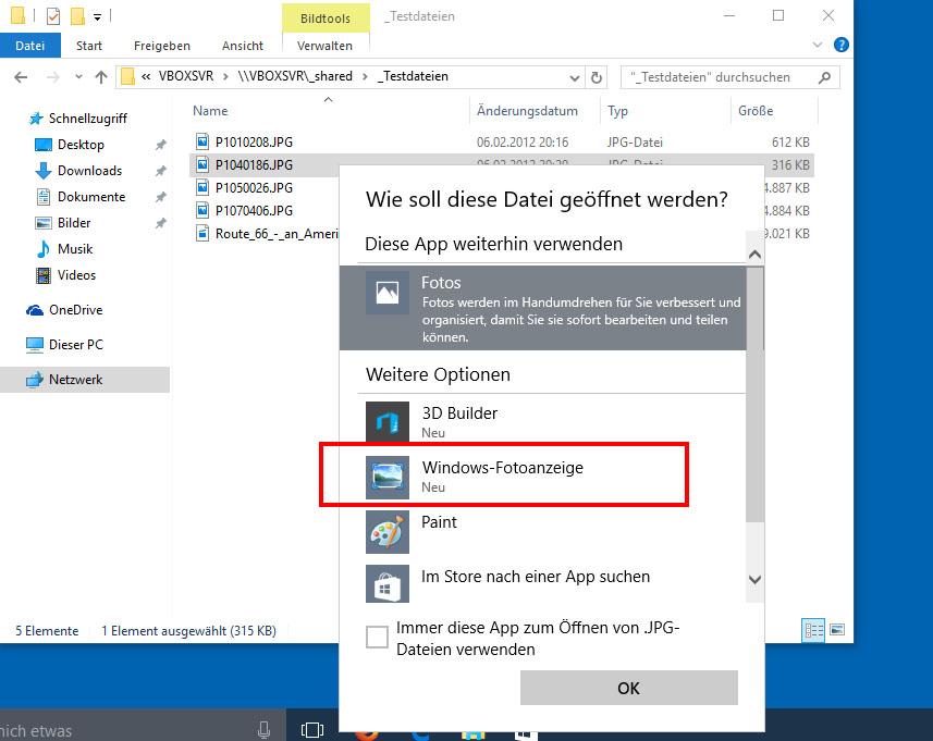Bilder öffnen Windows 10