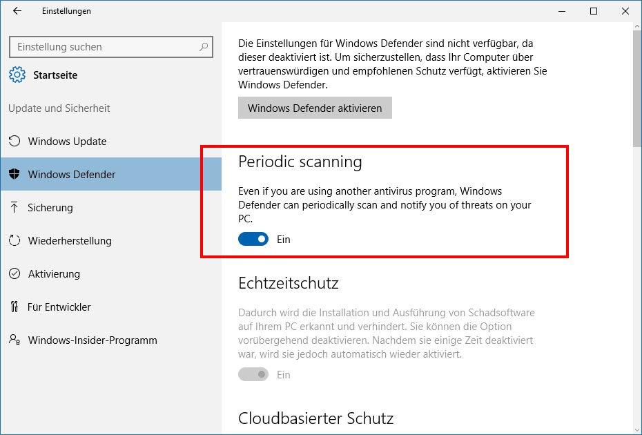 """Windows 10: Hier aktiviert ihr die Funktion """"Periodic scanning"""" des Defender."""