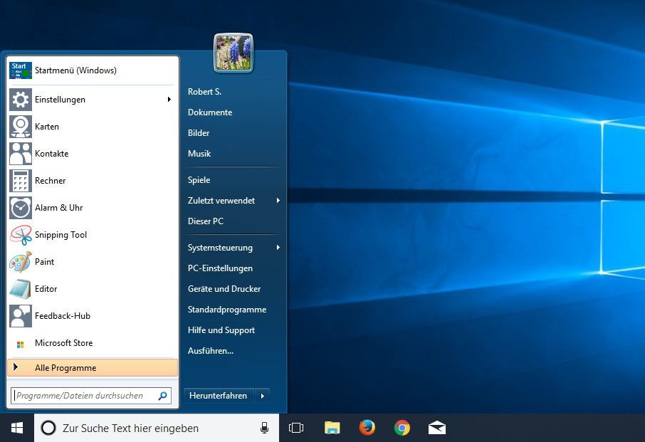 Windows-7-Startmenü in Windows 10