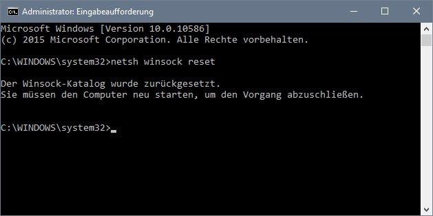 Windows 10: Der Befehl setzt den Winsock-Katalog zurück.