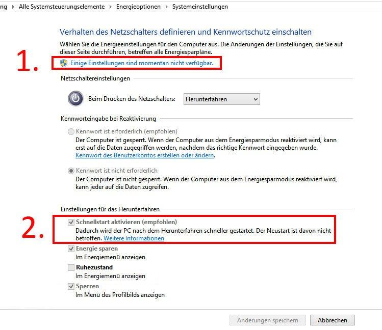 Windows 10: In den Systemeinstellungen solltet ihr den Schnellstart deaktivieren, damit es keine Probleme mit WoL gibt.