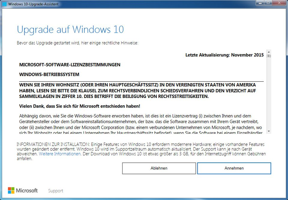 Der Windows 10 Upgrade Assistant installiert das Betriebssystem weiterhin kostenlos.