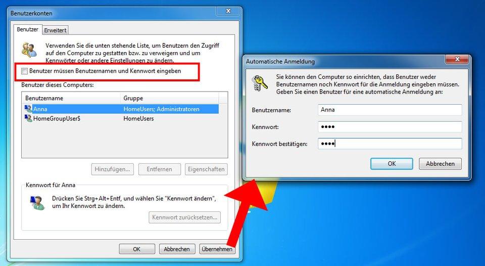 Windows 7: Hier richtet ihr den Autologin ein.