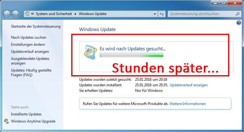 Windows 7 findet keine Updates, auch nach Stunden nicht.