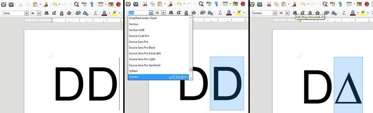 Delta-Zeichen Schriftart-Methode