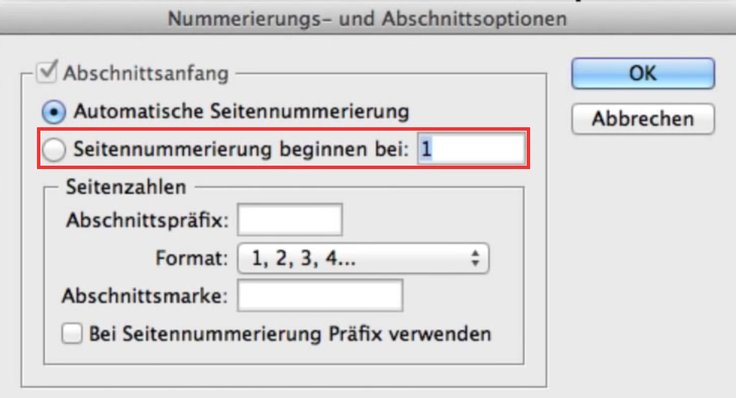 InDesign Seitenzahlen ändern