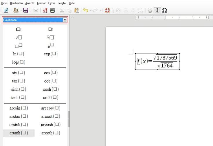 Mathematische Zeichen LibreOffice Math