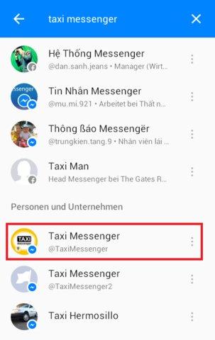 Facebook Taxi suchen
