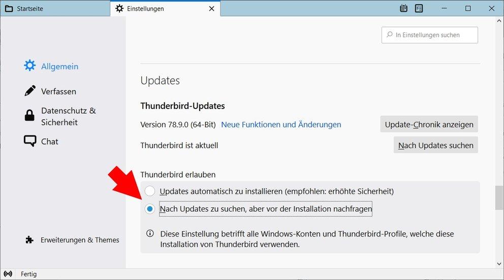 Thunderbird Automatische Updates de-aktivieren