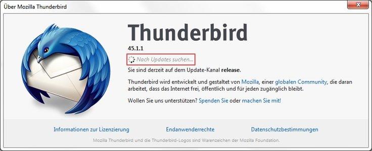 Thunderbird Update Über Mozilla Thunderbird