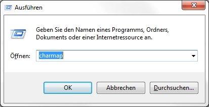 Windows Zeichentabelle Ausführen charmap
