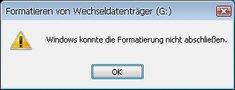 Lösung: Windows konnte die Formatierung nicht abschließen – Fehler beheben
