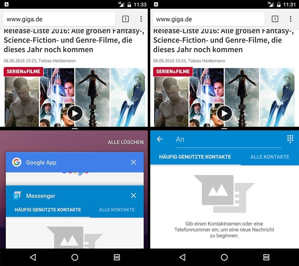 Android N zeigt 2 Apps auf einmal auf dem Display an.