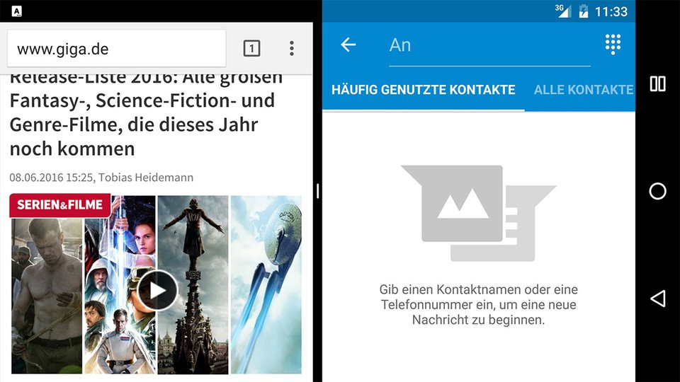 Android N: Die Multi-Window-Funktion in Aktion.