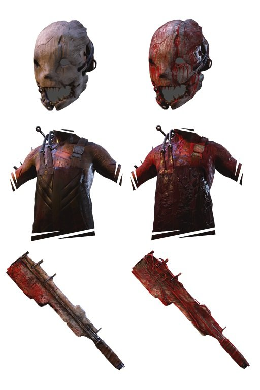 Seine alternativen Outfits und Waffen sind blutverschmiert. (Quelle: deadbydaylight.gamepedia.com)