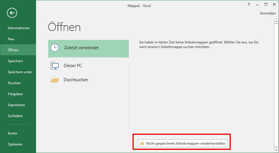 Excel Nicht