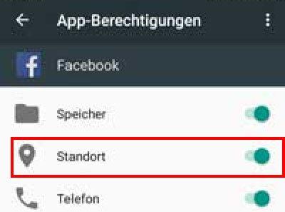 Facebook-App: Schaltet in Android die Berechtigung für den Standort aus.