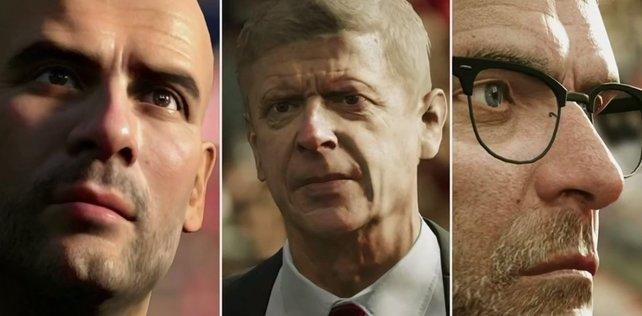 Pep Guardiola, Arsène Wenger und Jürgen Klopp (v.l.n.r.) werden als Modell in FIFA 17 dabei sein.