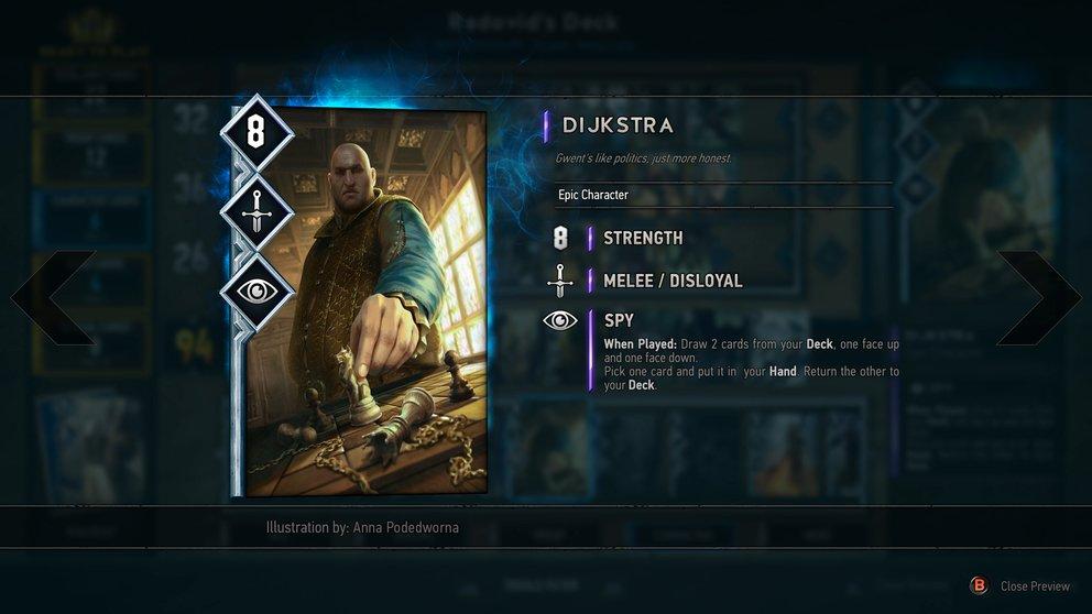Gwent: Bekannte Figuren aus dem Witcher-Universum sind auf den Karten abgebildet.