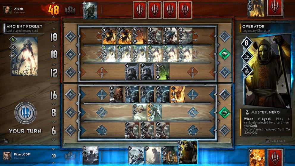 Gwent: Unterschiedliche Fähigkeiten der Karten sorgen für taktische Scharmützel.