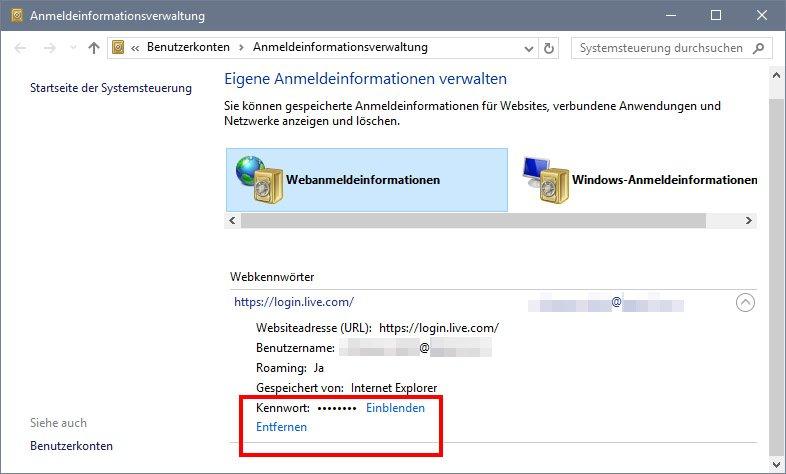 Internet Explorer: Passwörter anzeigen oder löschen.
