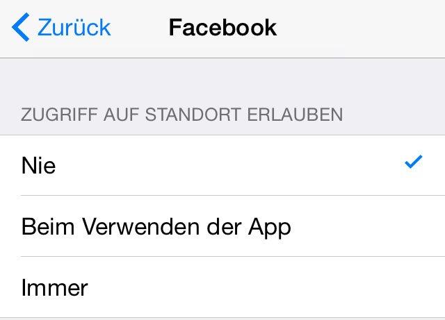 iPhone: Hier deaktiviert ihr den Ortungsdienst für Facebook.