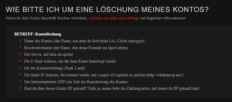 Lol Account Löschen