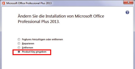 Office 2013: Hier ändert ihr den Product Key.