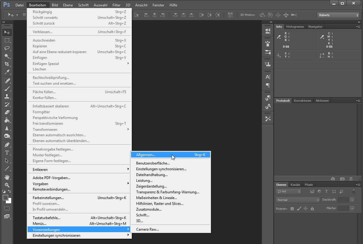 photoshop cs5 sprache