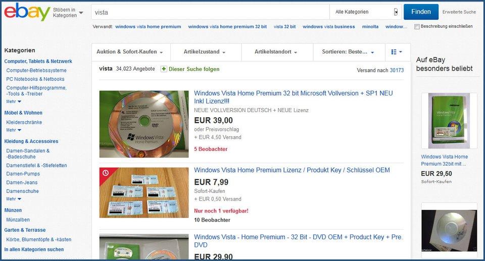 Zahlreiche Vista-Kopien findet ihr in der Regel noch auf Ebay und Co.