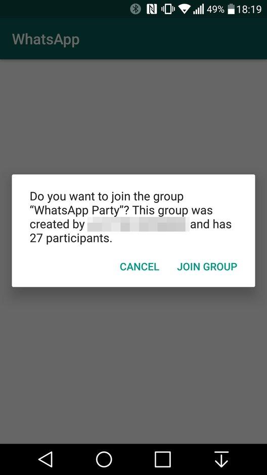 WhatsApp: So sieht es aus, wenn ihr einer Gruppe per Einladungs-Link beitretet.
