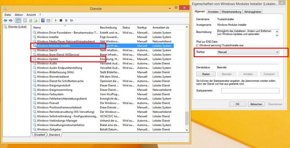 """Windows-Dienste: Setzt den Starttyp auf """"Manuell"""", um TiWorker.exe zu deaktivieren."""