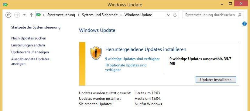 Windows 8: Sucht manuell nach Updates und installiert diese, um TiWorker.exe zu beenden.