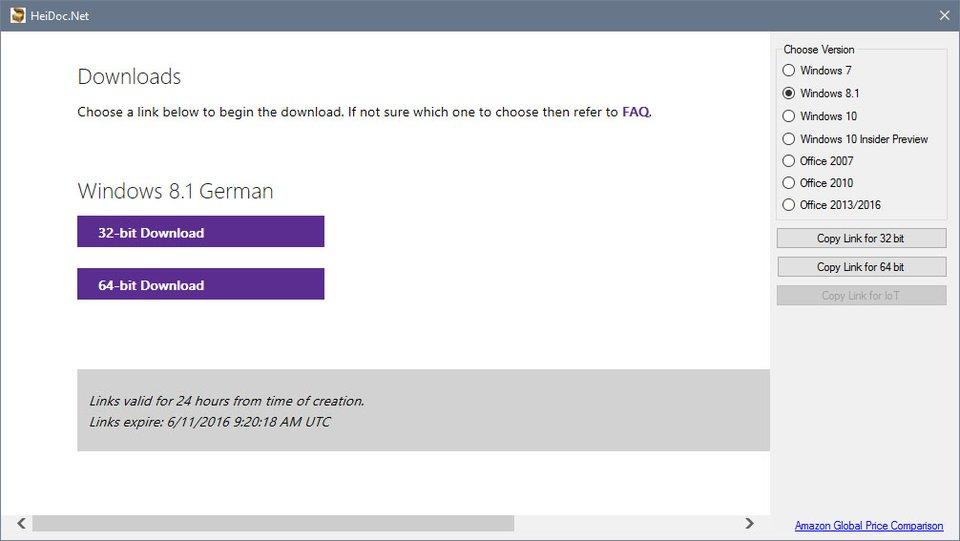 Windows-ISO: Hier könnt ihr die 32- oder 64-Bit-Version herunterladen.