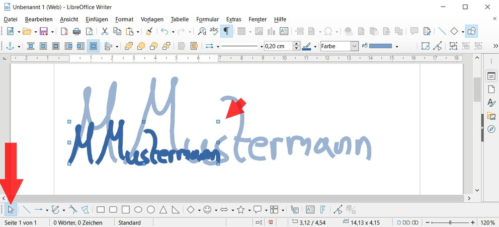 Digitale-Unterschrift-LibreOffice-Auswahl
