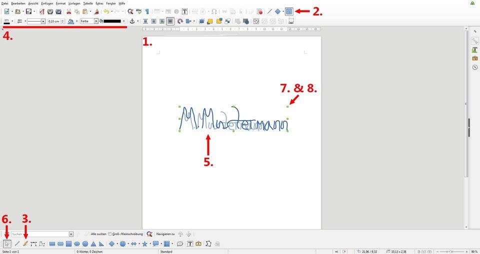 Digitale Unterschrift erstellen LibreOffice