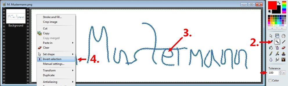 Elektronische Signatur mit Bildbearbeitungsprogramm