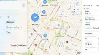 Apple-Karten bekommen Parkplatz-Informationen von Parkopedia