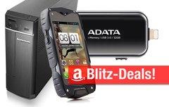 Blitzangebote:<b> Wasserdichtes Outdoor-Smartphone, iPhone-Speicherstick, Lenovo Desktop-PC u.v.m. heute billiger</b></b>