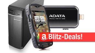 Blitzangebote: Wasserdichtes Outdoor-Smartphone, iPhone-Speicherstick, Lenovo Desktop-PC u.v.m. heute billiger