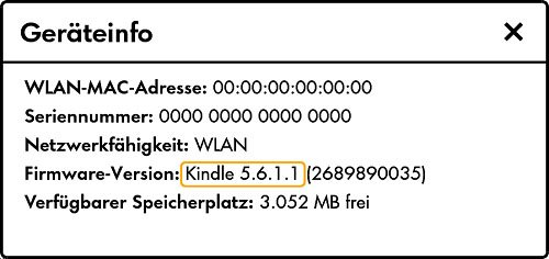 Kindle: Hier steht eure installierte Software-Version.