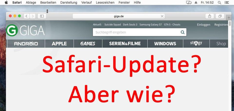 Safari: Im Browser findet sich keine Option für ein Update.