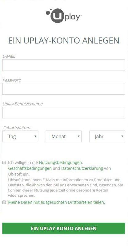 Wollt ihr ein Konto erstellen, benötigt Uplay nicht nur die Daten, die ihr auf dem ersten Blick erkennt. Auch euer vollständiger Name sowie euer Geschlecht müsst ihr angeben.