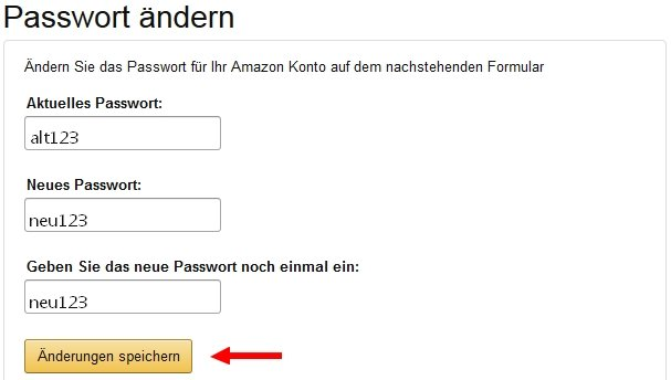 amazon konto passwort ändern